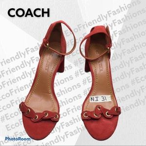 Heel Sandal With Coach Link In Red Suede